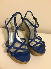 Royal Blue Strappy Wedges. Size 5