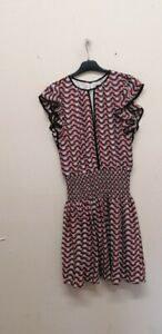 Karen Millen Printed Frill Mini Dress size UK10 EU 38 {B61}