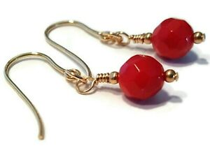 Red Coral Earrings in 9ct Gold, Round Faceted Gemstone Beads, Hooks Dangle Drops
