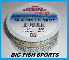 WOODSTOCK BRAIDED DACRON IGFA Fishing Line Green Spot 20lb-150yd FREE USA SHIP!