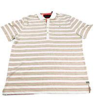 Sean John Polo Shirt Mens 2XL Cream Tan Red Short Sleeve 4 Button Collar NWT