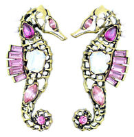 Vintage retro style bronze coloured seahorse stud earrings with crystal