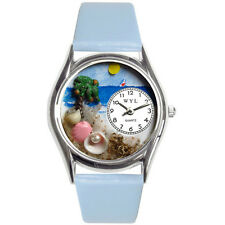 Whimsical Kids' Palm Tree Theme Baby Blue Leather Black Arabic Numerals Watch