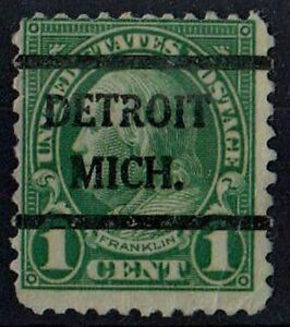 US 1923 Benjamin Franklin DETROIT MICH Precancel 1 Cent Green STAMP