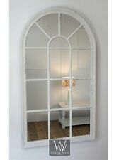 "Arabella White Shabby Chic Arch Window Wall Mirror 40"" X 24"" Large"