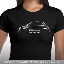AUTOTEES LADIES T-SHIRT FOR FIAT 500 CAR ENTHUSIASTS