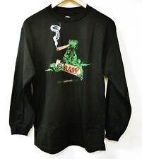 Raw Life Livin' Long Sleeve Black Lizard Smoking Blunt Rolling Papers T Shirt XL