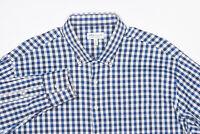 PETER MILLAR SUMMER COMFORT Button-Down Shirt XL in Lake Navy Blue Gingham Check