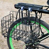 Bike Basket Wire Mesh Fold-Up Bicycle Front Handlebar Storage Rear Hanging