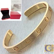 Authentic Cartier 18K Rose Gold Love Cuff Bangle Bracelet Size 18 wBox Papers J8
