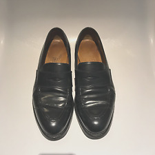 Mens Crockett & Jones for Barneys NewYork Shell Cordovan Black Penny Loafer 8D