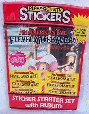 FIEVEL GOES WEST STICKER COLLECTOR'S ALBUM + 5 STICKER PACKS=6 STICKERS EA=1992
