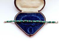 Mexican Sterling Silver 950 Malachite Link Bracelet 13gr