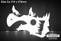 Wolf heulend Mond Wald Airbrush Schablone - Moon wolf Stencil