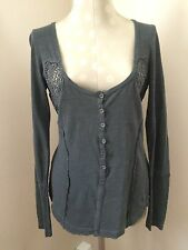 NWT Free People Henley Top With Crochet Inserts Long Sleeve Small Petite S