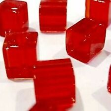 100 pieces 4mm Crystal Glass Square / Cube Beads - Red - A3007