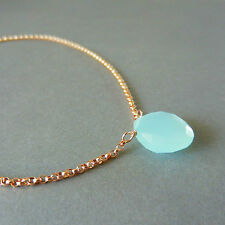 U&C Sundance Ocean Blue Chalcedony Solitaire 14k Rose Gold Filled Chain Necklace
