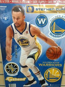 """STEPHEN CURRY GOLDEN STATE WARRIORS 10.5""""X16.5"""" 8 PC FATHEAD WALL GRAPHIC DECALS"""