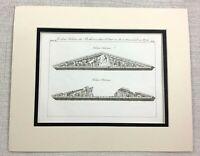 1821 Antique Engraving Ancient Greek Parthenon Temple Greece Pediment Old Print