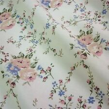 Cream Polycotton Fabric with Antique Pink & Blue Flowers (Per Metre)