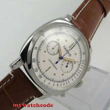 44mm Parnis white dial brown leather full Chronograph quartz mens watch 613