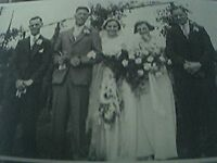 postcard size r/p old undated wedding party 5 people bride groom