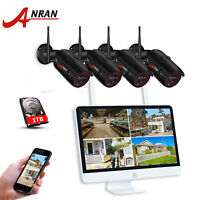 """ANRAN 4CH 1080P Wireless Video Security System IP CCTV Camera 15""""Monitor NVR 1TB"""