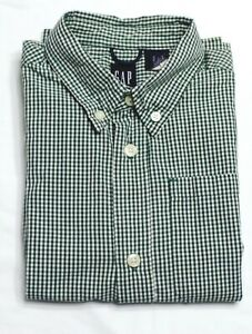 GAP Holidays Xmas Checked Green White Collared L/S Pocket Boys Dress Shirt XS