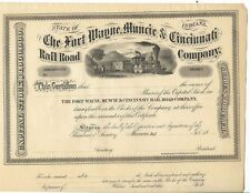 action américaine,The Fort Wayne, Muncie & Cincinati Rail, Road Compagny 1800 ?