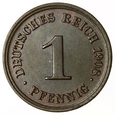 1908 D 1 Pfennig ~ Germany KM#10 High Grade + Lustre