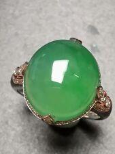 100% Genuine Certified Grade A Jade Natural Huge Icy Green Jadeite Diamond Ring