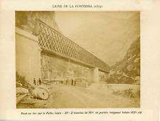 Italie, Ligne de la Pontebba, Pont en fer sur le Fella, ca.1880, vintage albumen