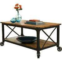 "Rustic Coffee Cart  TV Stand 42"" Table Black Wheels Wood Industrial Farmhouse"
