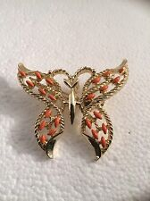 "Vintage Butterfly Pin Pendant Signed Gerry Coral Enamel Large 2"" gold toned"