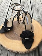a7fa107000 Oscar de la Renta Black Satin Strappy Sandals Bow Pewter Crystal Heels 39  Italy