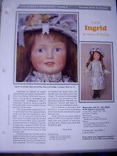 Seeley's Dollmaker'S Worksheet - S&H Simon & Halbig Ingrid - German Dolls