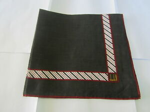 """USED BLACK SOLID & STRIPED PATTERN COTTON 18"""" HANDKERCHIEF POCKET SQUARE FOR MEN"""