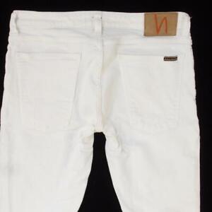 Mens Nudie SKINNY LIN Stretch Slim Skinny White Jeans W33 L32