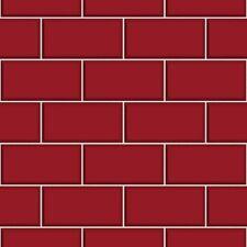 Ceramica Brick Tile Red Kitchen and Bathroom Wallpaper FD40138