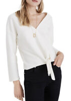 New Madewell L Texture & Thread Tie-Front Long Sleeve Top Antique Cream Ivory