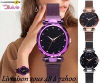 """Montre femme luxe """" GALAXIE """"  bracelet Magnétique tous poignets + 1 pile KDO"""