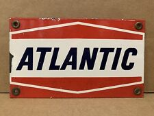 Vintage Porcelain Atlantic Gas Sign Oil Pump Plate Small Rare Size
