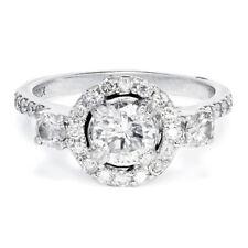 Round Diamond Halo 3 Stone Flower Petal Engagement Ring 18kt White Gold 1.44ctw