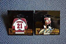 Vintage NHL Colorado Avalanche Forsberg Jersey Autograph Pin Set on Orig. Cards