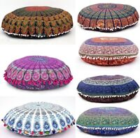"""32"""" INDIAN MANDALA ROUND TAPESTRY FLOOR CUSHION PILLOW POUF COVER Bohemian Throw"""