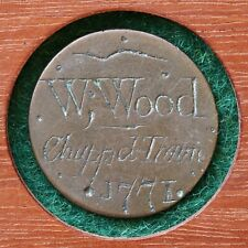 More details for a georgian love token, engraved halfpenny, w. wood, chappeltown sheffield, 1771.