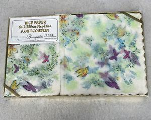 Baumgarten's Rice Paper Silk Effect Napkins 20 Luncheon 30 Cocktail Floral Japan