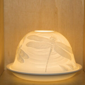 Nordic Lights - DOME LIGHT TEALIGHT CANDLE SHADE & TRAY - Dragonfly Dragonflies