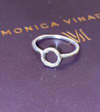 **Genuine Monica Vinader Silver RIVA MINI CIRCLE Diamond Ring UK-L US-6 51 £115