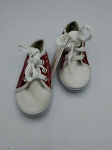NEW Baby Toddler Canvas Lace Up Low Top Red Sneakers Shoe Size 4 Unisex